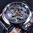 ieftine Ceasuri Bărbați-FORSINING Bărbați ceas mecanic Mecanism automat Piele Autentică Negru Gravură scobită Mare Dial Analog Casual Schelet - Negru Negru / Argintiu Alb / Argintiu