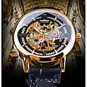Χαμηλού Κόστους Ανδρικά ρολόγια-WINNER Ανδρικά μηχανικό ρολόι Αυτόματο κούρδισμα Γνήσιο δέρμα Μαύρο Εσωτερικού Μηχανισμού Νυχτερινή λάμψη Καθημερινό Ρολόι Αναλογικό Βίντατζ Καθημερινό - Χρυσό Μπλε