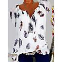 baratos Blusas Femininas-Mulheres Camiseta Floral, Gráfico Decote V Preto XXXL / Primavera / Verão / Outono / Inverno