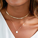 cheap Necklaces-Women's Pendant Necklace Layered Necklace Round Cut Ball Sweet Fashion Silver Plated Gold Plated Gold Silver 40 cm Necklace Jewelry 1pc For Gift Daily