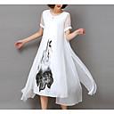 رخيصةأون ملصقات ديكور-فستان نسائي قياس كبير شيفون طباعة ميدي فضفاض أبيض ورد مناسب للخارج