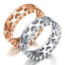 ieftine Cercei-Bărbați / Pentru femei Inele Cuplu / Band Ring / Inel 1 buc Argintiu / Roz auriu Oțel titan Circular De Bază / Modă Cadou / Zilnic Costum de bijuterii / Inimă / Tail Ring