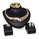 ieftine Brățări-Pentru femei Alb Zirconiu Cubic Seturi de bijuterii de mireasă Leaf Shape Val Stilat Placat Auriu Diamante Artificiale cercei Bijuterii Auriu Pentru Petrecere Zilnic 1set