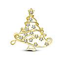 preiswerte Brosche-Damen Kubikzirkonia Broschen Kreativ Weihnachtsbaum Stilvoll Einfach Retro Süß Modisch Brosche Schmuck Golden Silber Für Weihnachten Party Geschenk Arbeit Festival