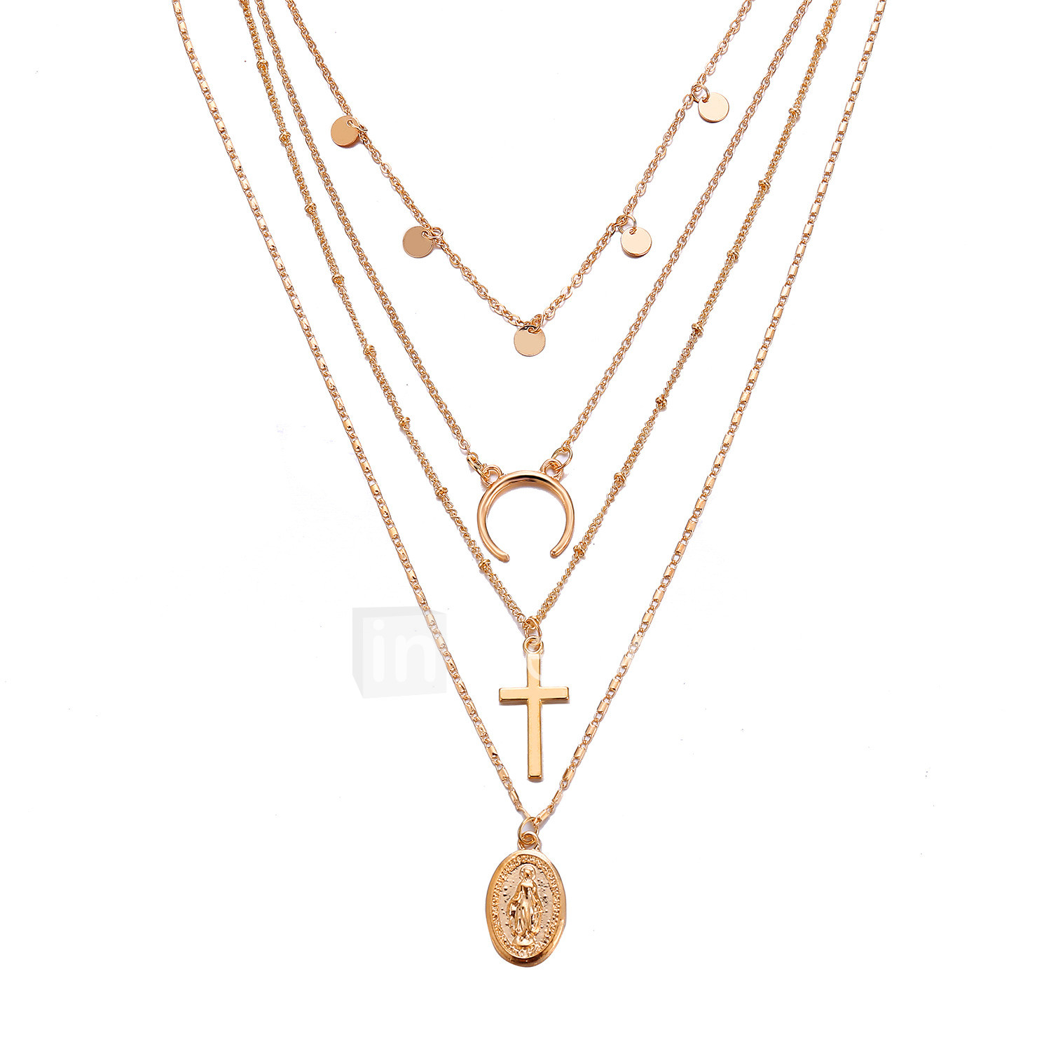 aee6e549bdb0aa Women's Layered Necklace Layered Cross Moon double horn European Trendy  Fashion Chrome Gold 60+6