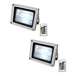 billiga -2pcs 10 W LED-strålkastare Vattentät / Fjärrstyrd / Bimbar RGB + Vit 85-265 V Utomhusbelysning / Simbassäng / Gård 1 LED-pärlor