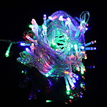 billiga -10m Ljusslingor 100 lysdioder Multifärg Sol / Dekorativ Soldriven 1set