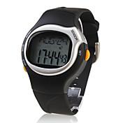 Hombre Reloj de Pulsera LCD Calendario Cronógrafo alarma Monitor de Pulso Cardiaco Digital Caucho Banda Negro