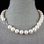 Mujer Perla Collar Y / Collar con perlas - Perla, Plata de ley Flor Blanco Gargantillas Para Boda, Fiesta, Aniversario / Pedida / Regalo / Diario