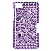 Caso duro del patrón del diamante púrpura con el Rhinestone para Blackberry Z10