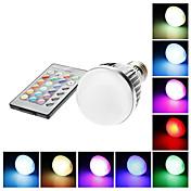 E27 5W 110mm Long RGB Color-skiftende lys LED Ball pære med fjernkontroll (85-265V)