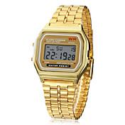 Hombre Digital Reloj digital Reloj de Pulsera Despertador Calendario Cronógrafo LCD Aleación Banda Encanto Dorado