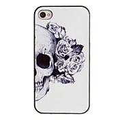 iPhone 4/4S를위한 까만 구조를 가진 로즈 장식 귀 본 PC 단단한 상자 두개골