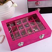 caja de pendientes de 24 clamshell de madera de primera clase, caja de accesorios de joyería de pendientes, bandeja de exhibición de joyería