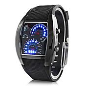 남성용 손목 시계 디지털 달력 LED 고무 밴드 블랙
