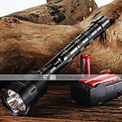 LED손전등 LED 3800/3000 루멘 5 모드 Cree XM-L T6 조절가능한 초점 슬립 방지 그립 용 캠핑/등산/동굴탐험 일상용 사이클링 사냥 낚시 여행 일 등산 블랙