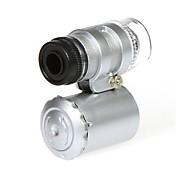 Microscopio Mini 60X con 2-Iluminación LED Moneda detección de la luz UV para el iPhone 5/5S (3 * LR1130)