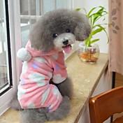 고양이 강아지 후드 파자마 강아지 의류 귀여운 캐쥬얼/데일리 포카닷 브라운 핑크 코스츔 애완 동물