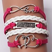 Dame Lær Hjerte Uendelighet Vedhend Armband Lær Armbånd - Personalisert Unikt design Venskap Uendelighet LOVE Rød Armbånd Til Julegaver