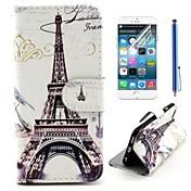 diseño de la torre Eiffel de la PU cuero de la cubierta de cuerpo completo con una película protectora y aguja para el iphone 6 más
