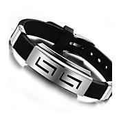 Herre ID armbånd - Titanium Stål Personalisert, Unikt design Armbånd Svart Til Daglig / Avslappet