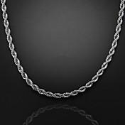 56cm, 7mm, collar de cadena remolino plateado figaro cadena de los hombres, se desvanecen incómodo
