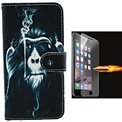 orangutanes diseño pu cuero caso de cuerpo completo con película de vidrio a prueba de explosión para el iphone 6 más