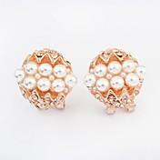 Pendientes cortos Perla Perla Artificial Brillante La imitación de diamante Legierung Moda Pantalla de color Joyas 2 piezas
