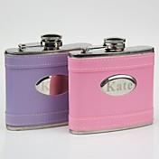 personalizado regalo rosado / cuero curva frasco de 5 oz púrpura
