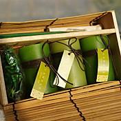 3pcs cilindro verde aromaterapia vela