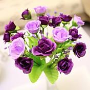 1 Rama Seda Plástico Rosas Flor de Mesa Flores Artificiales