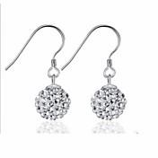 pendientes de la bola de cristal de la mujer plata de ley pendientes oído pendientes gancho moda larga sección clásica