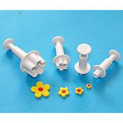 cuatro c cortadores émbolo sugarcraft flor, torta cortadores de diseño de plástico, herramientas de decoración de tortas clásico