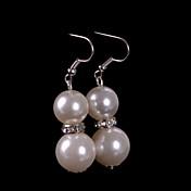 드롭 귀걸이 여성 진주 귀걸이 모조 다이아몬드 클래식 스타일