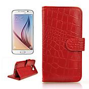 angibabe partern cocodrilo cubierta de la caja cartera de cuero genuino con tarjeta de ranura para / G920 samsung galaxy s6 (color