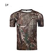 위장 사냥 티셔츠 방수 빠른 드라이 통기성 남여 공용 짧은 소매 클래식 슬림 위장 티셔츠 탑스 용 캠핑 & 하이킹 수렵 운동&피트니스 봄 여름 카모플라쥬 M L XL XXL