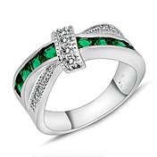 Dame Statement Ring - Zirkonium Mote 6 / 7 / 8 / 9 / 10 Grønn Til Bryllup Fest Daglig / Diamant