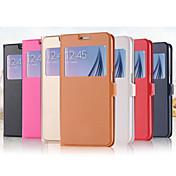 용 삼성 갤럭시 케이스 스탠드 윈도우 플립 케이스 풀 바디 케이스 단색 인조 가죽 용 Samsung S6