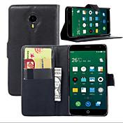 Etui Til Meizu Etui Meizu Kortholder Lommebok med stativ Flipp Heldekkende etui Helfarge Hard PU Leather til