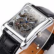 WINNER Hombre Reloj de Pulsera El reloj mecánico Cuerda Automática Huecograbado PU Banda De Lujo Negro Plata Dorado