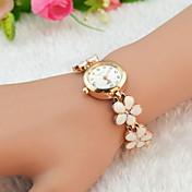Mujer Reloj de Moda Reloj Pulsera Cuarzo La imitación de diamante Aleación Banda Flor Elegantes Negro Blanco Rojo Marrón RosaBlanco Negro