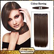 5 klipp lang rett brun syntetisk hår klippet i hair extensions for damer