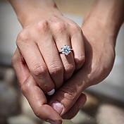 anillos de bodas del compromiso del diamante del cz de las mujeres estilo femenino clásico