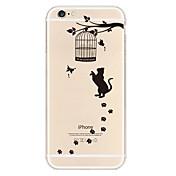 material de TPU gato negro caja del teléfono suave para el iphone 6 más / 6s más