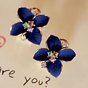 Mujer Pendientes cortos Pendientes colgantes Moda Cristal Chapado en Oro Diamante Sintético Flor Joyas Fiesta Diario Casual Joyería de