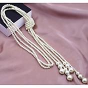 Mujer Forma Multi capa Moda Collar con perlas Collar de hebras Perla Perla Artificial Legierung Collar con perlas Collar de hebras Boda