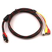 Cable HDMI V1.Macho a 3RCA Audio Vídeo AV (1'4M)