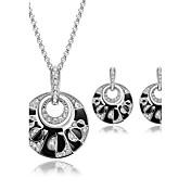Mujer Rubí sintético / Cristal Conjunto de joyas 1 Par de Pendientes / Collare - Lujo Negro Juego de Joyas Para Boda / Fiesta