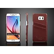 Para Funda Samsung Galaxy Soporte de Coche Funda Cubierta Trasera Funda Un Color Cuero Auténtico Samsung S6 edge plus