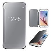 Etui Til Samsung Galaxy Samsung Galaxy S7 Edge med vindu Speil Flipp Heldekkende etui Helfarge PC til S7 edge S7 S6 edge plus S6 edge S6